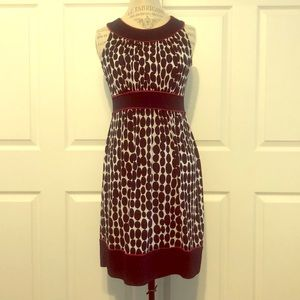 Navy blue & white polka dress with red piping